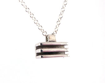 Horizontal Rectangle Bar Minimalist Geometric Brutalist Architectural Inspired Pendant, Layered Necklace Sterling Silver