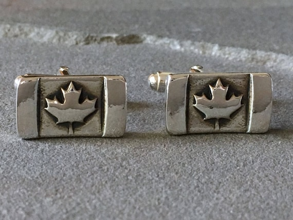 Sterling Silver Canada Maple Leaf Flag Cufflinks Gifts For Etsy