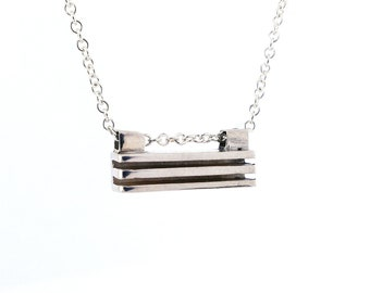 Sterling Silver Modern Contemporary Horizontal Bar Pendant, Minimalist Geometric Architectural Inspired Pendant, Layered Necklace