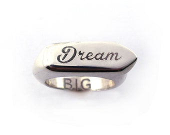 Sterling Silver Dream Big Intention Setting Mantra Ring, Empowering Word of The Year Jewelry, Engraved Personalized Silver Signet Ring