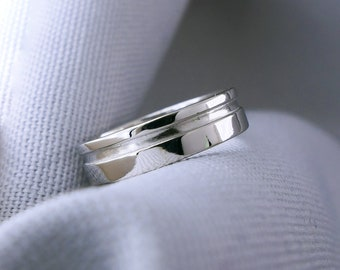 14k White Gold Cut Out Ring, Modern Men's Geometric Wedding Band, Contemporary Simple Wide Wedding Ring, Grooved Unisex Ring