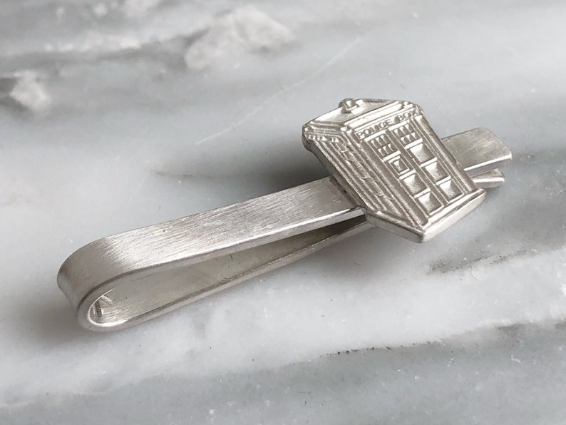 Geeky Tie Bar Tardis Tie Bar Sterling Silver Tie Bar Gift for Doctor Who Fans Doctor Who Tie Clip Whovian Tie Clip Dr Who Tie Bar