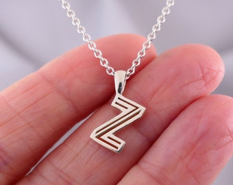 Initial Letter Pendant in Sterling Silver, Personalized Custom Gift for Mom, Best Gift for Girlfriend, Geometric Best Friend Necklace