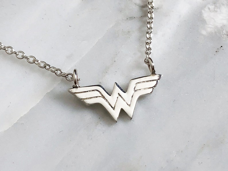 Sterling Silver Wonder Woman Necklace Comic Book Hero Jewelry Comic Book Necklace Superhero Necklace Wonder Woman Necklace Wonder Woman