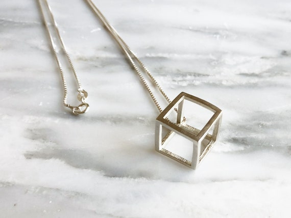 Gift for Him Geometric Necklace Cubic Jewelry Silver Wired Cube Pendant Gift for Her Blackened Silver Cube Pendant Geometric Jewelry