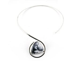 Sterling Silver Dendritic Opal Statement Necklace, Dendritic Opal Choker Neck Piece