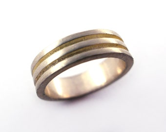 Cut Out Geometric Modern Grooved Ring in Sterling Silver, Layer Minimalist Contemporary Ring, Alternative Wedding Band