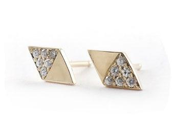 14k Yellow Gold Moissanite Rhombus Shaped Post Earrings, Diamond Shaped Stud Earrings, Kite Shaped Earring, 14k Yellow Gold Moissanite Studs