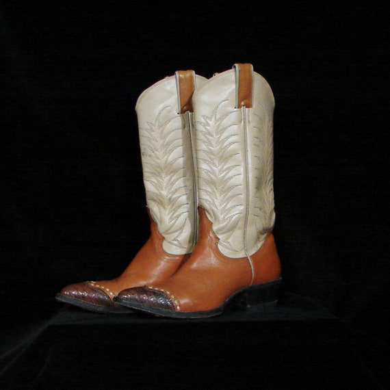 Vintage Three-color Justin Cowboy Boots Size 4 1/2