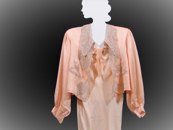 Silk and Lace Vintage Bed Jacket Circa 1920's / 19