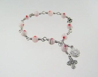 Holy Communion Bracelet with Millefiori Beads