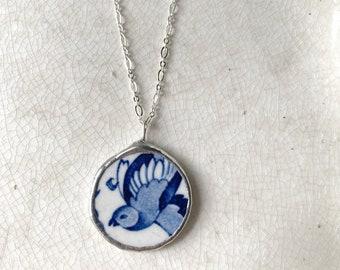 Vintage Broken China Blue Bird Necklace
