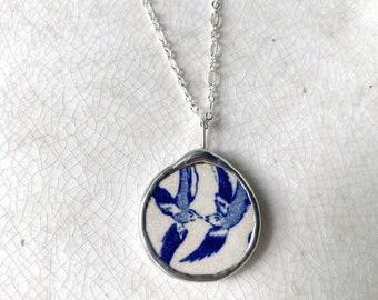 Vintage Broken China Blue Willow Birds Necklace Medium