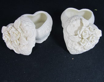 Vintage Off White Ceramic Heart Basket Love Birds Ring Dish Flower Pink Ribbon