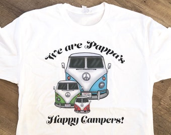 Grandfather Grandkids Shirt Vintage Camper Van Car Lover Classic Car Hippie Bus Shirt Gift for Poppi Happy Camper Shirt Wanderlust Gift
