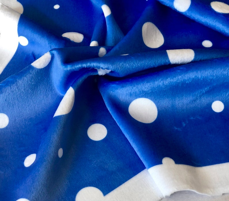 Blue Polka Dots Fabric 13x19 Cut to Size Fabric Pinks image 0