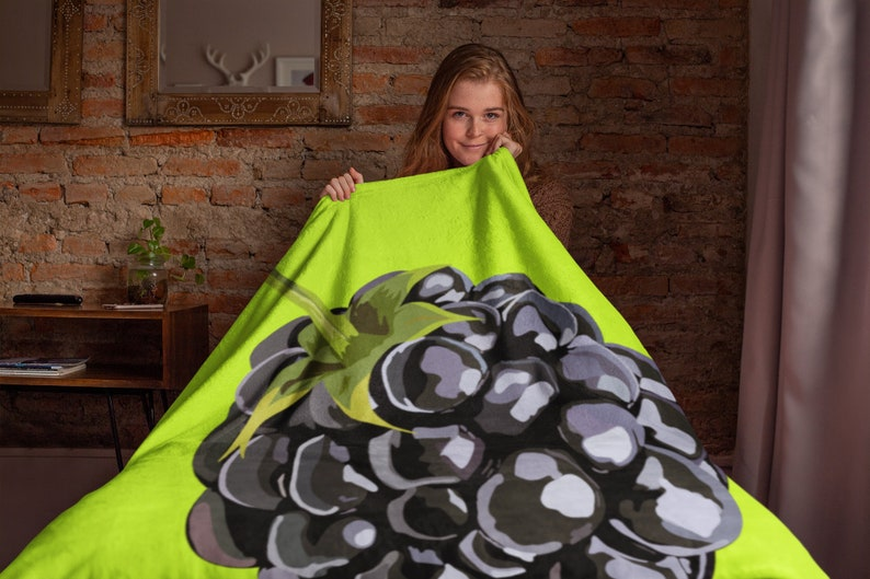 Blackberry Throw Blanket Fruit Minky Blanket Fruit Lover Gift Kiwi