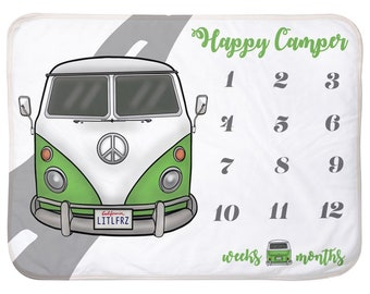 Car Baby Milestone Blanket Green Hippie Bus Personalized Baby Blanket Track Growth and Age New Mom Baby Shower Gift Vintage Camper Van