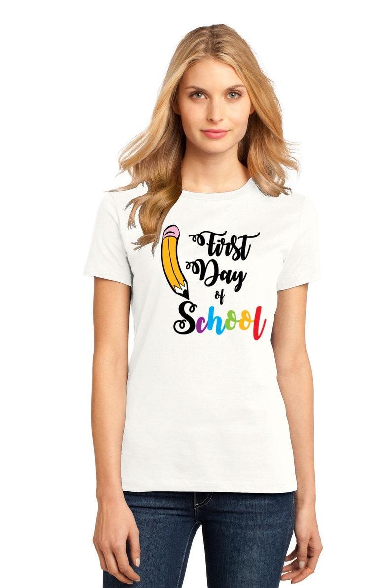 Teacher First Day of School Shirt Women's Pencil Shirt rainbow letters