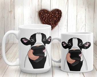 Black Cow Mug Black and White Milk Cow Coffee Mug Funny Farm Animal Cup Gift for Farmer Farm-life Cow Kitchen Decor Cow Lover Gift
