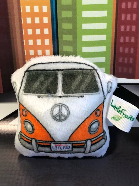 Plush Camper Van Stuffed Car Toy Vintage Hippie Bus Gift For Grandson Toddler Idea Nursery Decor Birthday Party Favor Lover