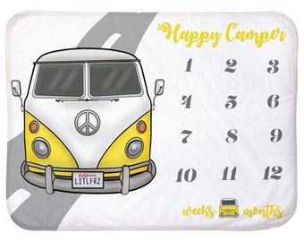 Baby Milestone Blanket yellow Hippie Bus Personalized Baby Blanket Track Growth and Age New Mom Baby Shower Gift Car Baby Gifts Camper Van