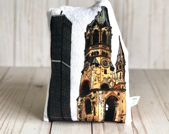 Gedächtniskirche Plush Pillow Berlin City Gift for Traveller Berlin Pillow Famous Landmark World History Teacher Gift Berlin Lover Pillow