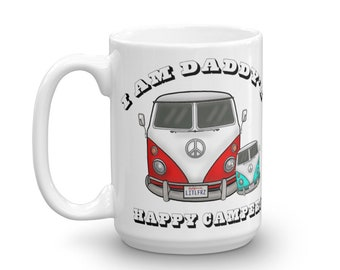 Daddy Baby Mug Father's Day Gift Pregnancy Announcement Gift for Expecting Dad Hippie Bus Mug Daddy's Happy Camper Mug Vintage Camper Van