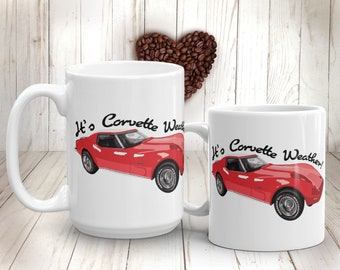 Corvette Coffee Mug 1973 Stingray Corvette Race Car Mug Corvette Gifts for Him Car Lover Vintage Car Classic Car Grandpa Gift Father's Day