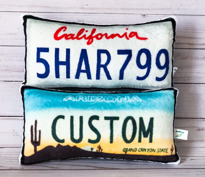 Custom License Plate Pillow Custom Car Pillow Car Lover Gift image 0