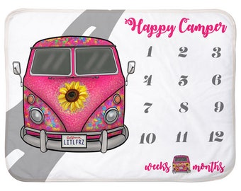Hippie Bus Baby Milestone Blanket Vintage Camper Van Personalized Baby Blanket Track Growth and Age New Mom Car Baby Shower Gift Baby Gifts