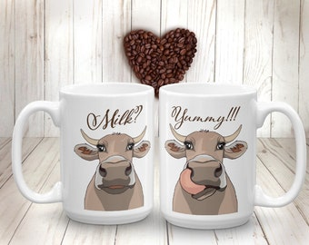 Brown Cow Mug Milk Cow Coffee Mug Funny Farm Animal Cup Gift for Farmer Farm-life Cow Kitchen Decor Cow Lover Gift Milk Coffee Cup for Kids