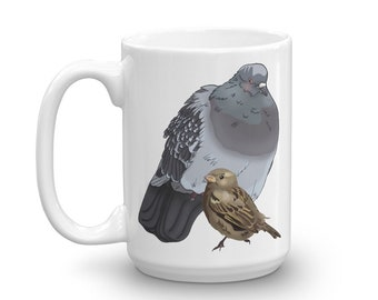 Birds Coffee Mug Pigeon Mug Sparrow Mug Cute Mug for Bird Lovers Exhausted Pigeon Early Bird Mug Gift for Coworker BFF Pigeon Whisperer Gift
