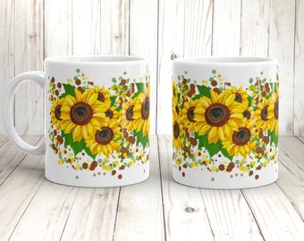 Sunflower Coffee Mug Botanical Design Flower Lover Gift Happy Mug Flower Power Hippie Cup Gift for Mom Yellow Flowers Print wraps entire Mug