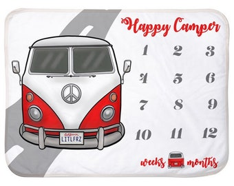 Car Baby Milestone Blanket red Hippie Bus Personalized Baby Blanket Track Growth and Age New Mom Baby Shower Gift Happy Camper Van Baby