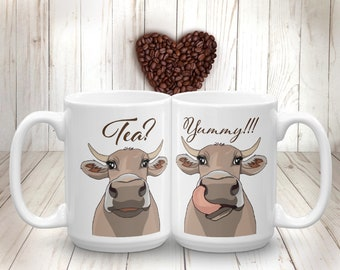 Cow Tea Mug Brown Cow Funny Farm Animal Cup Gift for Farmer Farm-life Cow Kitchen Decor Cow Lover Gift Cup for Tea Drinker Cow Cartoon Mug