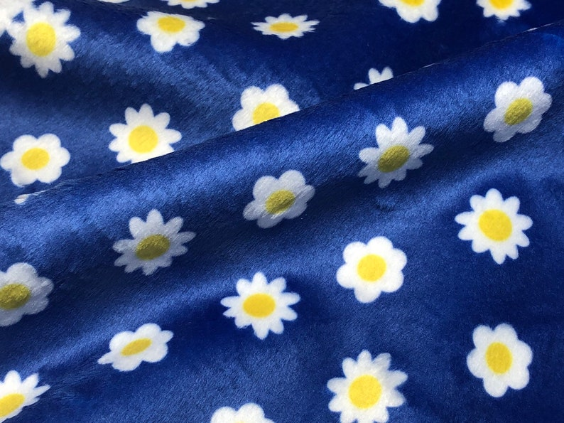 Daisy Fabric Cute Flower Minky Fabric Simple Hand-Drawn Design image 0