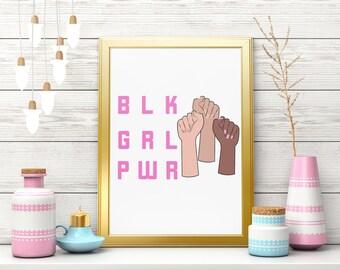 Black Girl Power Digital Download  Printable Wall Art- Black Girl Magic Digital Print Download - Black Girl Power PNG PDF Instant Download