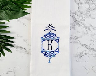 Personalized Gift Monogrammed Towel - Custom  Embroidered Hand Towel -  Pagoda Kitchen Towel - Chinoiserie Tea Towel - Black Owned Shop