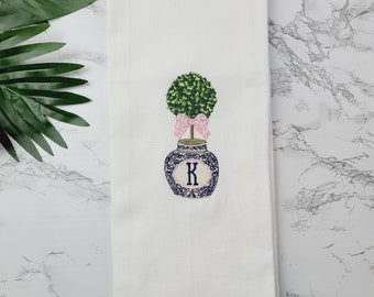 Personalized Gift Monogrammed Towel - Custom  Embroidered Hand Towel - Boxwood Pink Kitchen Towel - Chinoiserie Tea Towel - Black Owned Shop
