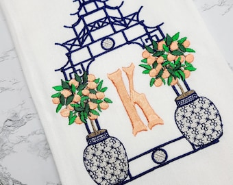 Personalized Gift Monogrammed Towel - Custom  Embroidered Hand Towel -  Peach Tree Kitchen Towel - Chinoiserie Tea Towel - Black Owned Shop