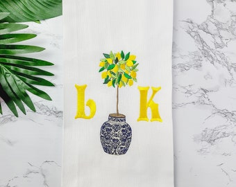Personalized Gift Monogrammed Towel - Custom  Embroidered Hand Towel -  Lemon Tree Kitchen Towel - Chinoiserie Tea Towel - Black Owned Shop