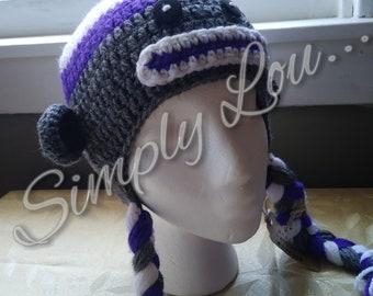 Crochet Monkey Hat with Braids - Child Size - READY TO SHIP