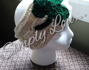 Crochet Cable Shamrock Ear Warmer - MADE TO ORDER