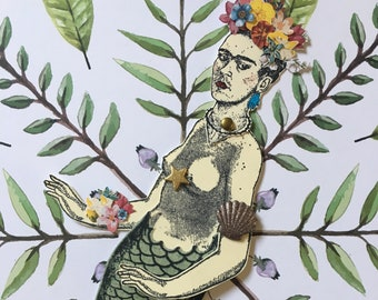 Menagerie Paper Doll - Frida Kahlo Mermaid