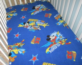 Crib bedding Super Hero Mickey on Fleece Toddler bed fitted sheet with blue background