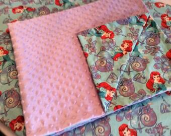 Little mermaid blanket with minky dot, pack n play sheet set