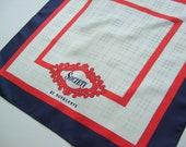 Vintage 1991 Burberry Silk Scarf Red White and Blue Navy Check Nautical Society Pocket Handkerchief Square Designer Checked Plaid