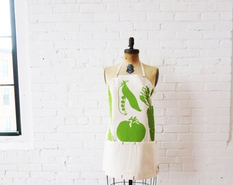 Green Apron, Adjustable, Vegetable, Veggies, Full Length, tomato, peas, carrot hand printed on canvas