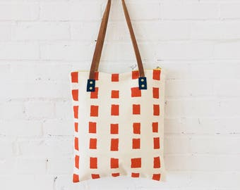 SQUARES TOMATO Bark Cloth Mod Tote with Leather Straps